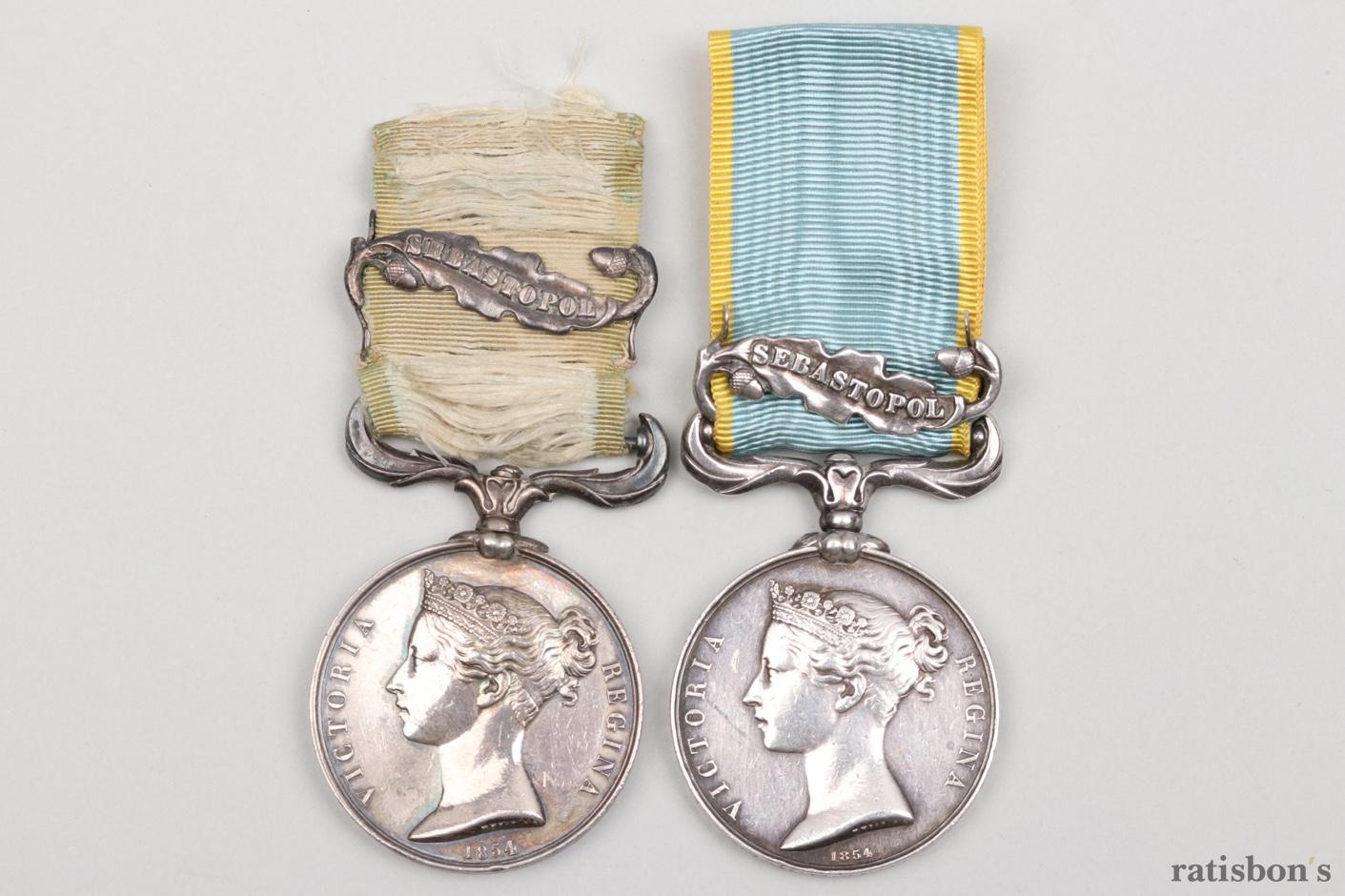 ratisbon's | 2 + Great Britain Crimea Medals with Sebastopol clasp